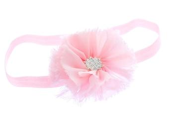 Light Pink Baby Frayed Ballerina Flower Headband