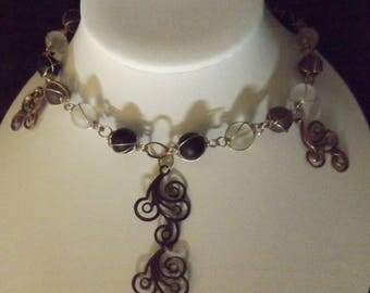Bronze Scroll Detail Beaded Necklace
