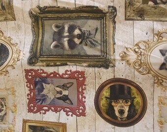 Antique Animal Paintings fabric