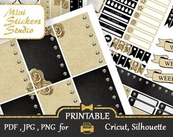 MAMBI HP 2018 Printable Stickers Weekly kit Leather black and beige Art Deco Printable Happy Planner Digital Sticker Silhouette Cricut