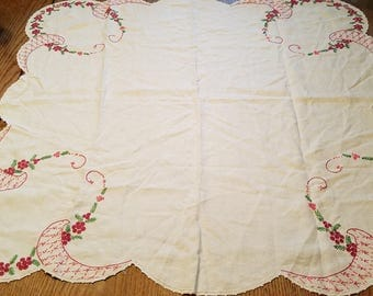 vintage tablecloth hand embroidered