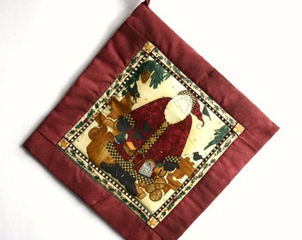 Handmade, Quilted, Primitive, Holiday Santa Potholder with Insulated Heat Resistant Lining