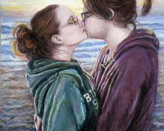 CUSTOMIZED Couples half figure drawing, painting, pastel - cherished memories captured!