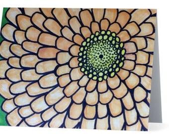 Blank Flower Card, Yellow, Zinnia Flower