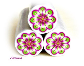 Polymer clay flower cane: Raw polymer clay cane - Millefiori cane supplies - Purple and green flower cane - Supplies for jewelers