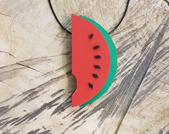 Handmade jewelry design, funny design necklace, sophisticated necklace, unique design, one of a kind, watermelon necklace, gift for her
