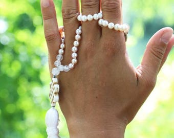 """Natural color pearl and quartz mala necklace - 24"""" inches long - Handmade tassle - Tibetain endless knot"""
