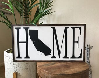 State HOME sign/custom/state/home/oregon/california/texas/hawaii/rustic/wood/farmhouse sign/military/housewarming/gift