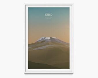 Kibo, Tanzania  (Mountain Art Print, Mountain Poster / Kilimanjaro, Africa, African Mountains, Seven Summits, Gift)