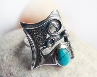 Sterling silver ring/ Semiprecious stones/ Modern silver art/ Silver jewelry/ Sterling silver/ Carnelian/ Onyx/Turquoise/ Pink quartz/ Gift