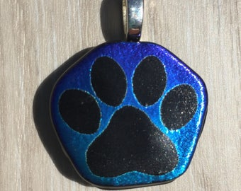 Dichroic Fused Glass Pendant - Aqua Blue Purple Dog Paw Laser Engraved Etched Pendant
