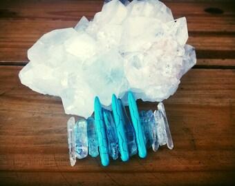 Turquoise and quartz barrette