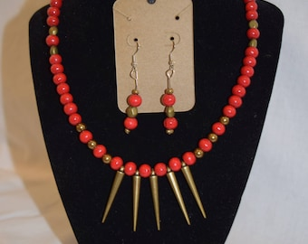 Red and Brass Spike Jewelry Set