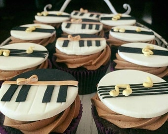 Music and Piano Fondant Cupcake Toppers