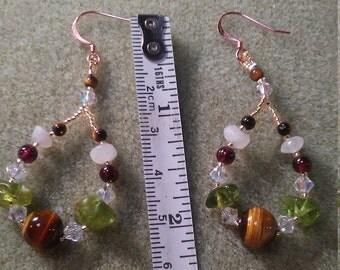 Multiple gemstones earrings