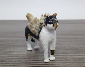 Polymer Clay Angimal figure Cat with wings Example / unique handmade Sculpture / Angel Animal