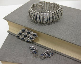 Stunning Unique Vintage Blue and Clear Rhinestone Bracelet, Earrings, and Brooch Set