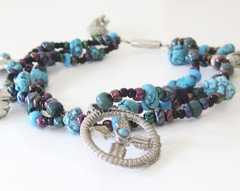 Multi Stranded Turquoise Stone Bead Native Silver Charm Bracelet Purple Green Blue Silver Metallic Beads Vintage Bracelet Handmade Vitalsole