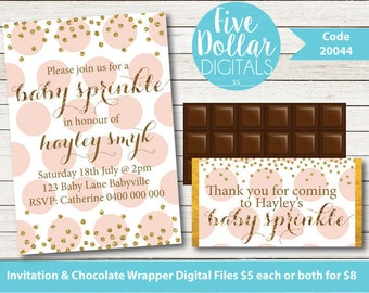 Personalised Pink and Gold Glitter Effect Digital Baby Shower Sprinkle Invitation & Chocolate Candy Bar Wrapper