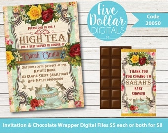 Vintage Floral High Tea Personalised Digital Baby Shower Invitation & Chocolate Candy Bar Wrapper