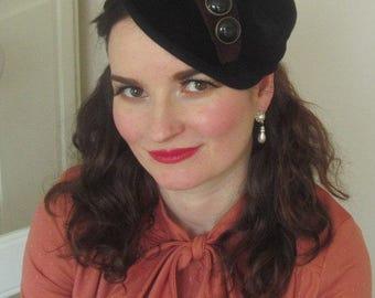 Vintage Inspired 1940 Style Black Velvet Felt Hat