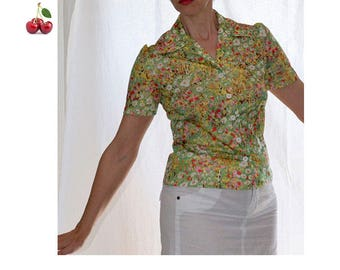 Blouse preppy pastel watercolor vintage 90's blouse shirt short sleeve floral ornate hanger fitted french watercolor floral shirt