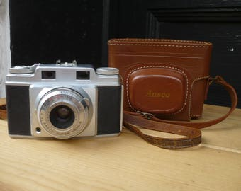 Ansco Super Memar 35mm Camera, Original Cowhide Leather Case