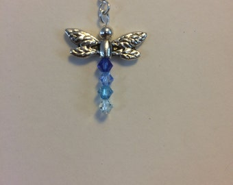 Handmade Dragonfly earrings. Swarovski Crystal, silver plate.