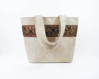 Sand beige suede bag with Brown and gold curly Ribbon