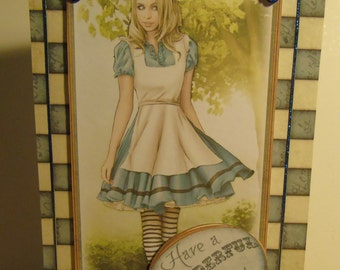 Handmade Decoupage Alice in Wonderland Inspired Birthday Card - Alice Blue