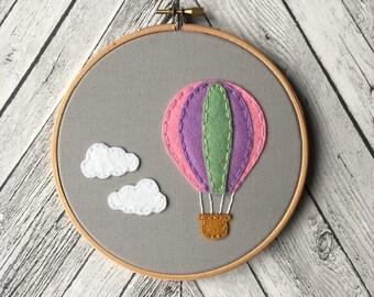 Hot Air Balloon Embroidery Hoop - Felt Art - Nursery Decor