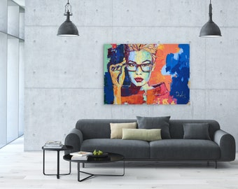 Acrylic painting on stretched canvas, Modern art portrait, Large wall art canvas, Abstract modern art, Contemporary painting, Ready to hang