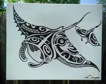 Polynesian Tribal Manta Ray Painting on canvas