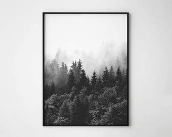Forest fog print, fog and forest, mist forest, scandinavian, forest minimalist wall art, nordic print, foggy forest, forest landscape print