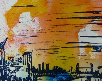 Abstract Art / Linocut print on paper - Title : The Southbank IIII (modern architecture)