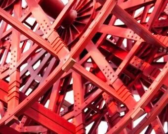 Red Wheel Photography Print Wall Art