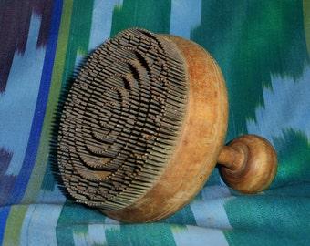 traditional uzbek wooden handmade stamp chekich for bread non 165