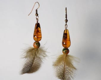 Earrings Pearl and feather - Pearl and feather earrings