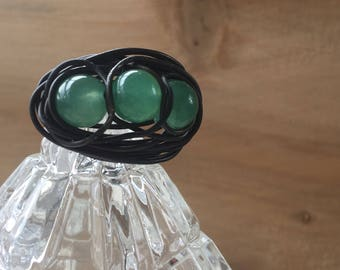 ring wire wrapping and authentic aventurine stone