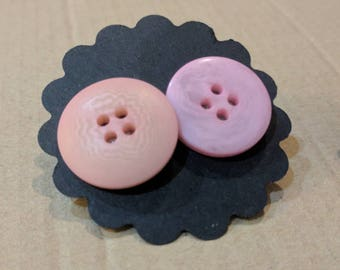 Pink and pinker button earrings