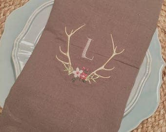 Monogram Flower Antler Hand Towel