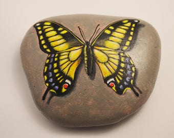 Stone with butterfly. Hand-painted