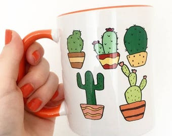 Cactus mug with orange detail