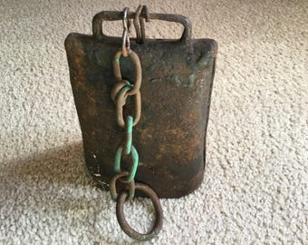 Vintage Primitive Hand Riveted Cow Bell and Chain