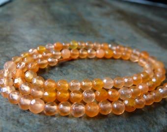 Orange quartz faceted round beads/4mm/13 inch strand