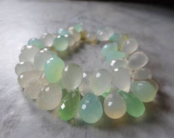 Bi color Seafoam green and off white chalcedony briolettes/10x7-15x8mm/7 inch strand