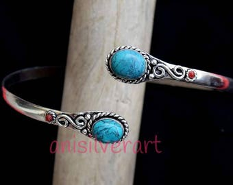Armlet , Arm cuff, Upper Arm Cuff, Turquoise Armband, Silver Armlet, Gypsy Armlet, Hammered Arm cuff, Handmade Armlet, Tribal Armlet,