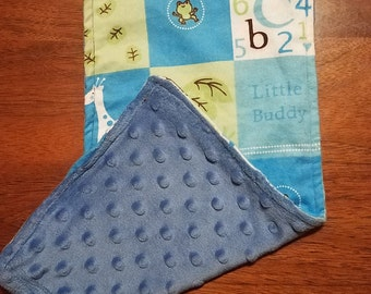 Minky and Flannel Baby Burp Rags for Baby Boy