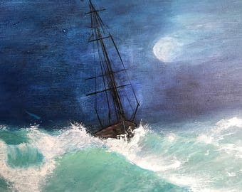 Beautiful Ocean and Boat Canvas Oil Painting