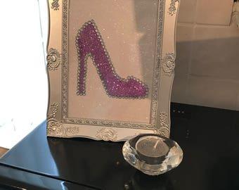 "Bespoke Handmade Luxury Glitter Frame stiletto shoe, diamanté, Silver frame 5x7"""